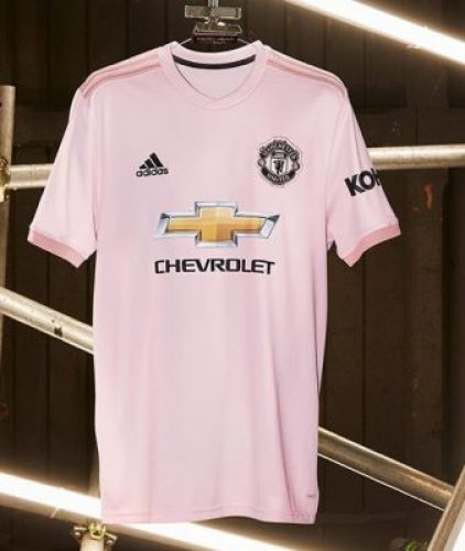 Manchester United Pink 2018 2019 adidas Away Football Kit, Soccer Jersey, Shirt, Maillot, Camiseta, Camisa, Trikot