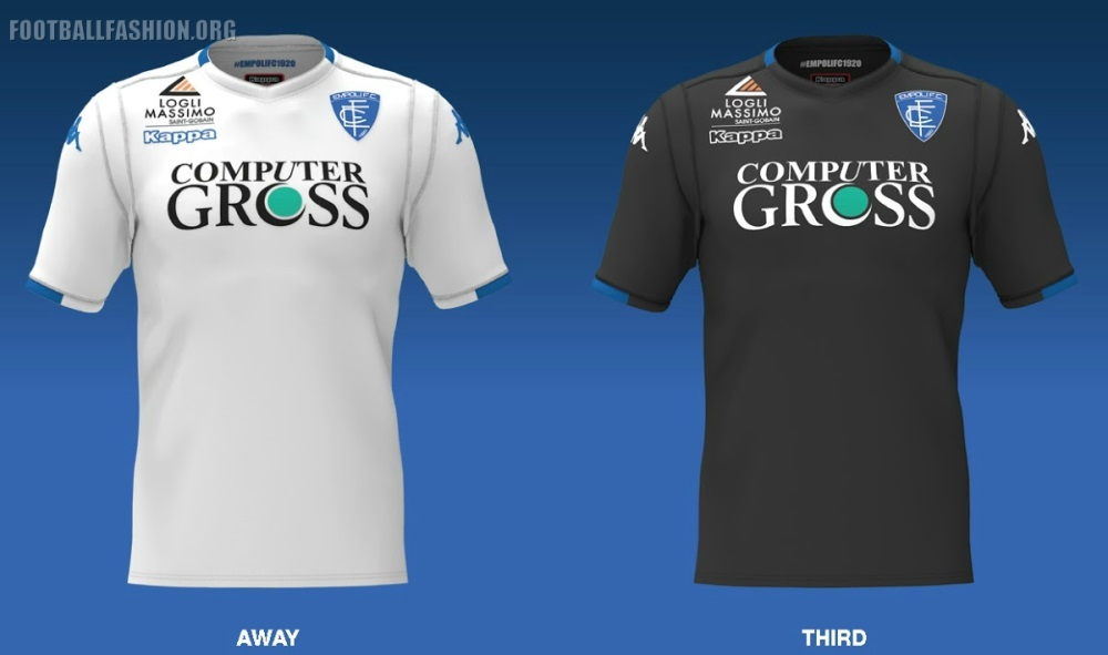 "26b05ad121 Empoli s 18 19 away jersey is white with blue accents while their third kit  is black with blue details. All three shirts have ""EMPOLI 1920"" printed on  their ..."