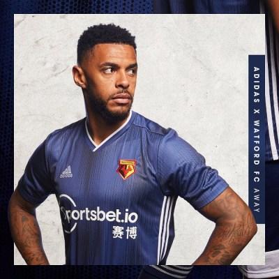 Watford FC 2019 2020 adidas Away Football Kit, Soccer Jersey, Shirt
