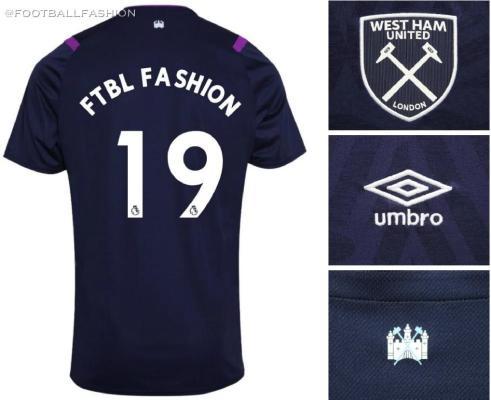 West Ham United 2019 2020 Umbro Third Football Kit, aSoccer Jersey, Shirt, Maillot, Trikot, Camisa, Camiseta