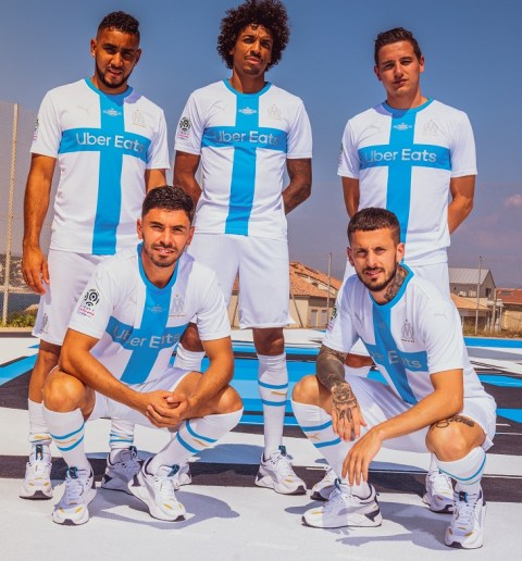 Olympique de Marseille 120th Anniversary PUMA Football Kit, Soccer Jersey, Shirt, Maillot, 120ans