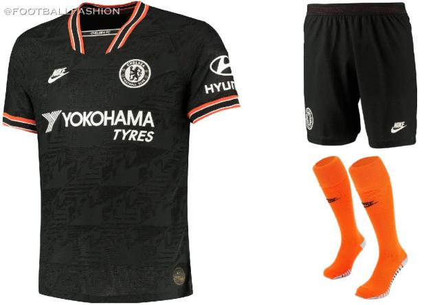 Chelsea FC 2019 2020 Nike Black 90s Away Football Kit, Soccer Jersey, Shirt, Camiseta de Futbol, Camisa, Maillot, Trikot, Tenue, Dres