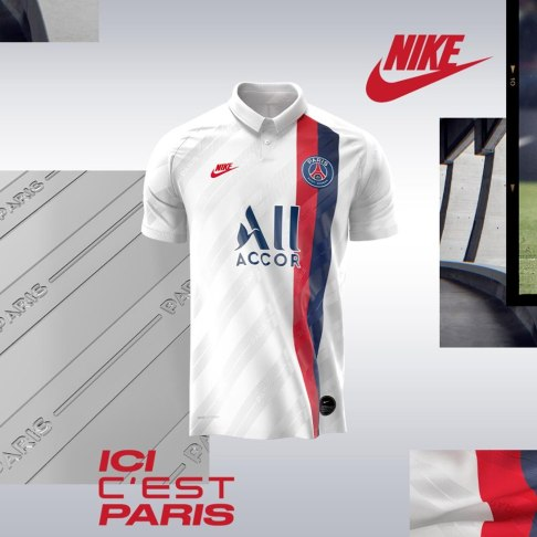 Paris Saint-Germain 2019 2020 Nike White Third Retro Football Kit, Soccer Jersey, Shirt, Maillot, Camiseta, Camisa, Trikot