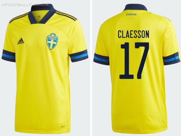 Sweden EURO 2020 2021 adidas Home Football Kit, Soccer Jersey, Shirt, Matchtröja