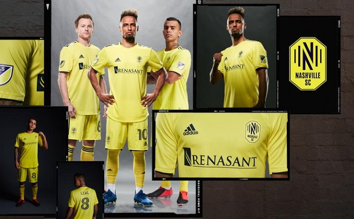 Nashville Soccer Club 2020 MLS Gold adidas Home Jersey, Shirt, Kit, Camiseta de Futbol