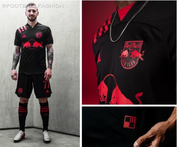 New York Red Bulls 2020 Dark Mode adidas Away Football Kit, Soccer Jersey, Shirt, Camiseta de Futbol