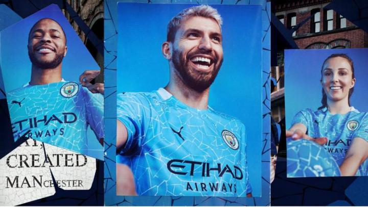 Manchester City FC 2020 2021 PUMA Home Football Kit, 2020-21 Shirt, 2020/21 Soccer Jersey, Maillot, Camiseta, Camisa, Trikot, Tenue