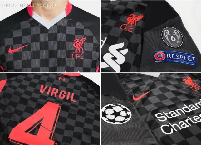 Liverpool FC 2020/21 Nike Black Third Champions League Football Kit, 2020-21 Soacer Jersey, 2020/21 Shirt, Camiseta, Camisa, Maillot, Trikot