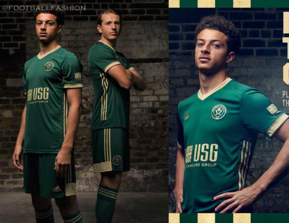 Sheffield United 2020 2021 Green adidas Third Football Kit, 2020-21 Soccer Jersey, 2020/21 Shirt