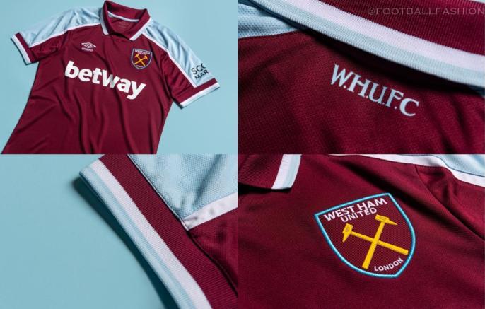 West Ham 2021 2022 Umbro Home Football Kit, 2021-22 Soccer Jersey, 2021/22 Shirt, Camiseta 21-22, Maillot 21/22
