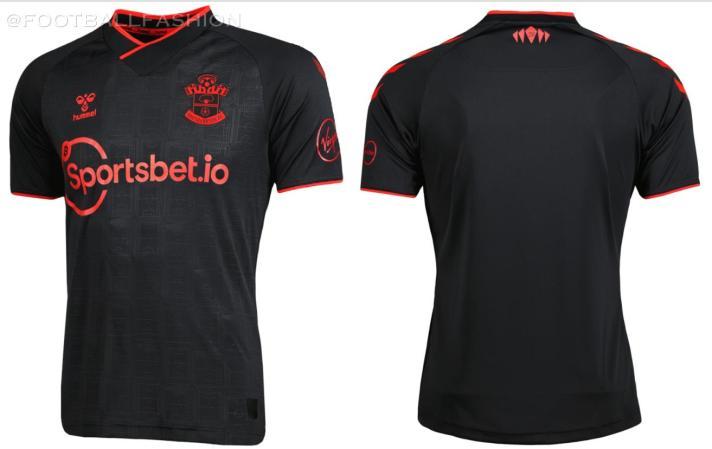 Southampton FC 2021 2022 hummel Black Third Football Kit, 2021-22 Soccer Jersey, 2021/22 Shirt, Camiseta 21/22