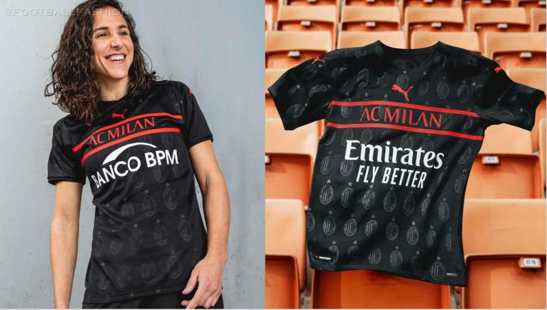 AC Milan 2021 2022 PUMA Black Third Football Kit, 2021/22 Soccer Jersey, 2021-22 Shirt, Maglia, Camiseta, Camisa, Trikot