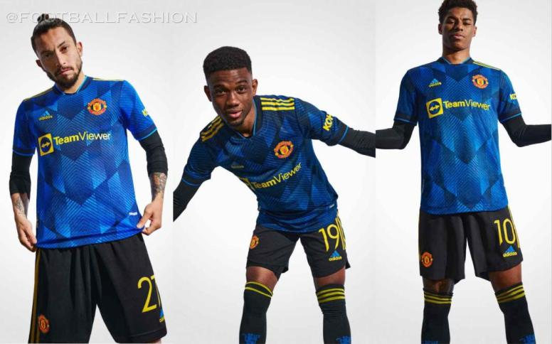 Manchester United 2021 2022 adidas Blue Third Football Kit, 2021-22 Shirt, 2021/22 Soccer Jersey, Maillot, Camiseta 21/22, Camisa 21-22, Trikot