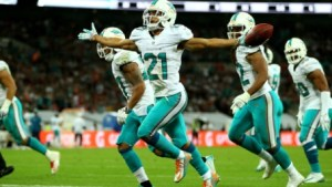 Brent Grimes knows how to get it done in London with his INT against Oakland in 2014. Miami Dolphins