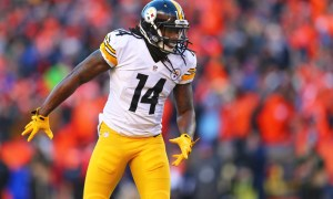 Jan 17, 2016; Denver, CO, USA; Pittsburgh Steelers wide receiver Sammie Coates (14) against the Denver Broncos during the AFC Divisional round playoff game at Sports Authority Field at Mile High. Mandatory Credit: Mark J. Rebilas-USA TODAY Sports