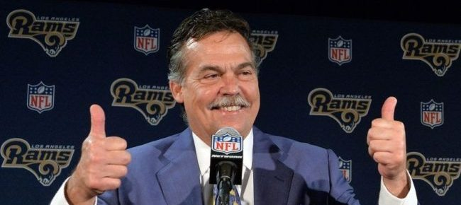 Apr 28, 2016; Los Angeles, CA, USA; Los Angeles Rams coach Jeff Fisher at press conference at Courtyard L.A. Live after selecting quarterback Jared Goff (not pictured) as the No. 1 pick in the 2016 NFL Draft. Mandatory Credit: Kirby Lee-USA TODAY Sports