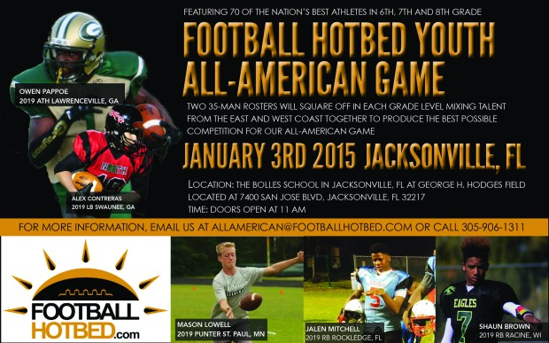Football Hotbed Youth All American Game Jacksonville, FL 2015 Flyer