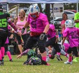 Big Zach Hardy makes big holes for the running backs in the back field for the #1 ranked undefeated Rockledge Raiders Pee Wee team. His dominant aggression has gave the running backs great confidence running inside the line of scrimmage.