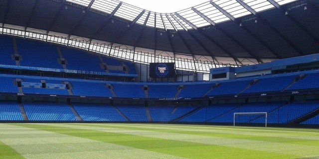 The Etihad football stadium, home of English champions Manchester City, where Everton FC will wear the new Hummel 2021/2022 away kit for the first time in Sunday's final Premier League game of the 2020/2021 season.