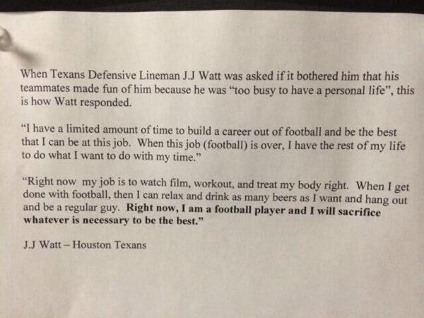 JJ Watt letter
