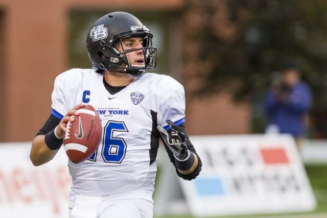 04 OCTOBER 2014:  Buffalo Bulls quarterback Joe Licata (16) looks for an open receiver during game action between the Buffalo Bulls and the Bowling Green Falcons during a regular season Mid-American Conference game played at Doyt Perry Stadium in Bowling Green, Ohio.  The Bowling Green Falcons defeated the Buffalo Bulls 36-35.