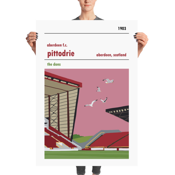 A stadium print poster of Aberdeen FC and their home ground of Pittodrie. The Dons. Massive