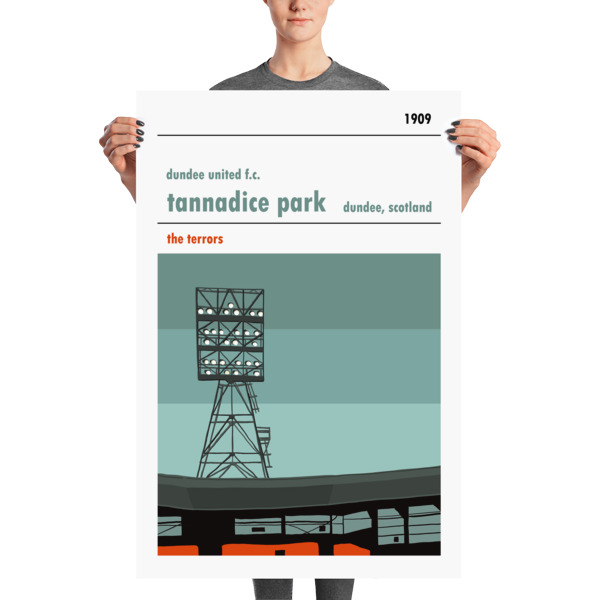 A huge football poster of the Jerry Kerr Stand at Dundee United