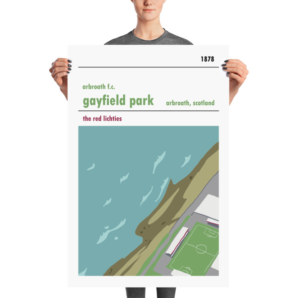 A stadium print poster of Arbroath FC and their home ground of Gayfield Park. The Red Lichties. Huge