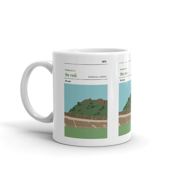 A coffee mug of the Rock and Dumbarton FC