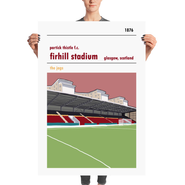 A Huge stadium poster of Firhill and the John Lambie stand. Home to Partick Thistle