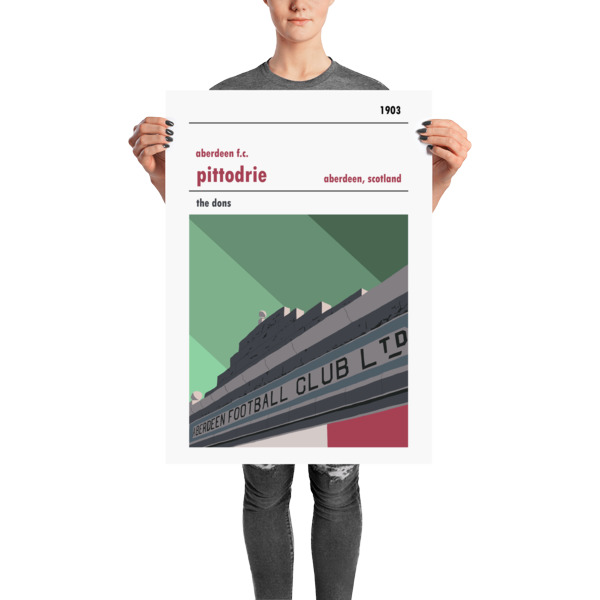 A stadium print poster of Aberdeen FC and their home ground of Pittodrie Merkland Road entrance. The Dons. Large