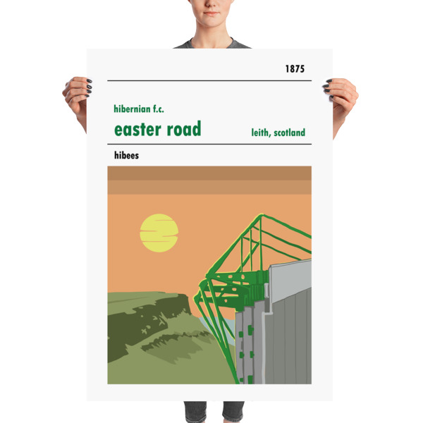 A huge football stadium poster of Easter Road, home to Hibs.