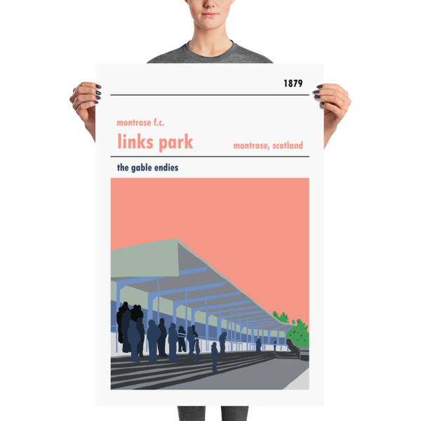 A huge football poster of Links Park and Montrose FC