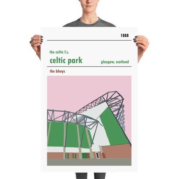A large stadium poster of Parkhead and the Lisbon Lions stand