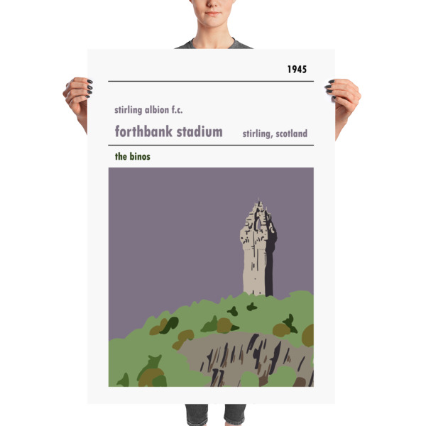 A massive football poster of Forthbank, Wallace Monument and Stirling Albion