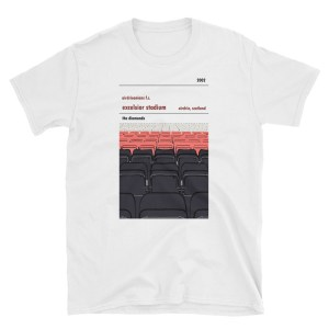 A white t-shirt of Excelsior Stadium and Airdrie FC