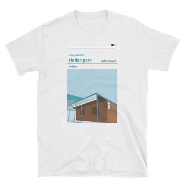 A white t-shirt of Station Park and Forfar Athletic FC