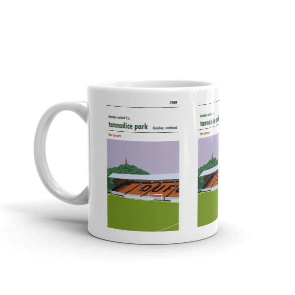 A coffee mug of the Shed at Tannadice, home to Dundee United
