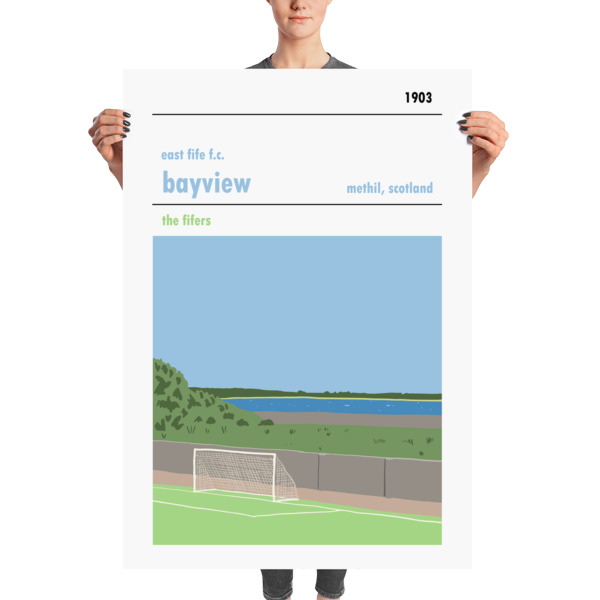 A massive football poster of Bayview and East Fife FC