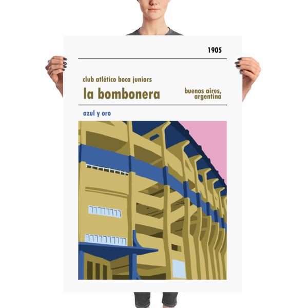 A huge stadium poster of La Bombonera, home to Boca Juniors