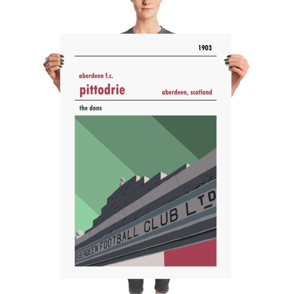 A stadium print poster of Aberdeen FC and their home ground of Pittodrie Merkland Road entrance. The Dons. Massive