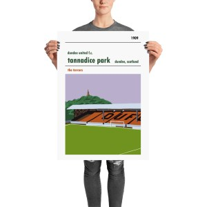 A stadium poster of the Shed at Tannadice PArk, home to Dundee United FC