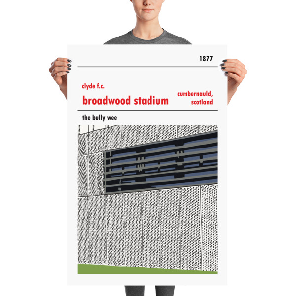 A huge football poster of Clyde FC and Broadwood Stadium and the Bully Wee