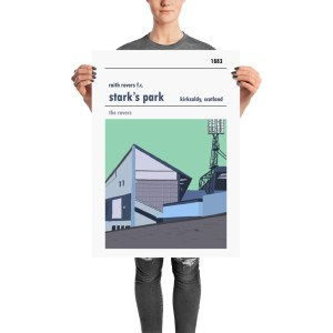 A large football poster of Stark's Park and Raith Rovers FC