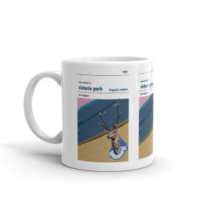 Retro football mug of Ross County and Victoria park. Showing the stags head