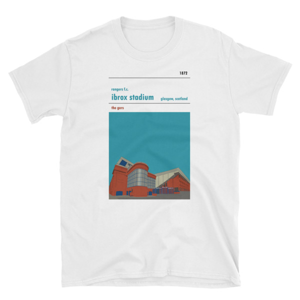 A t-shirt of Ibrox Stadium, home of Rangers FC. Showing the satue of John Greig