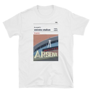 A t-shirt of the Emirates Stadium, home to Arsenal FC