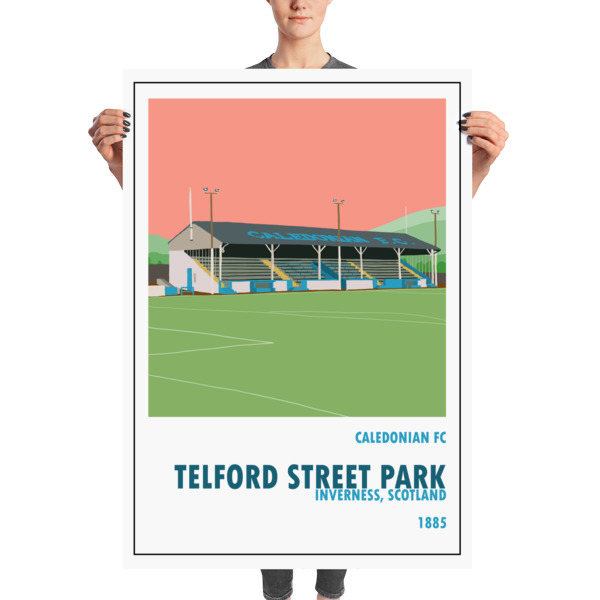 A huge stadium poster of Telford Street PArk, home to Caledonian FC. Inverness