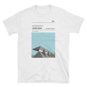 A T-shirt of Netherdale, home to Gala Fairydean Rovers. Showing their brutalist main stand.