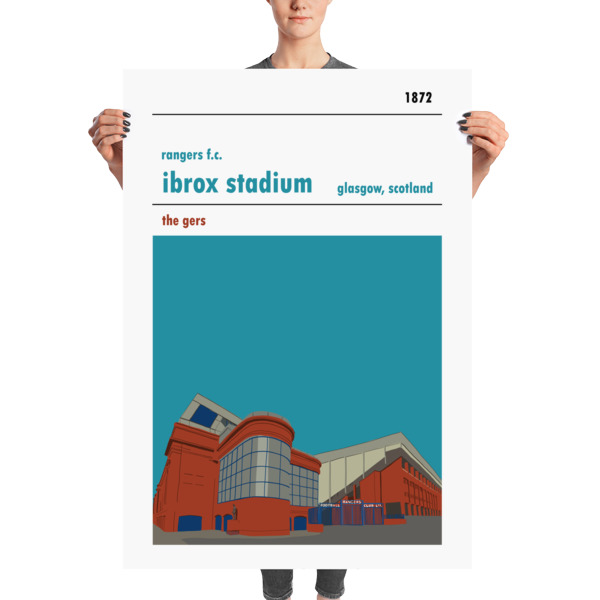 A huge football poster of Ibrox, home to Rangers FC. The Gers